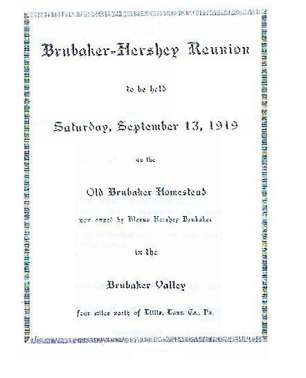 1919 Brubaker-Hershey Program