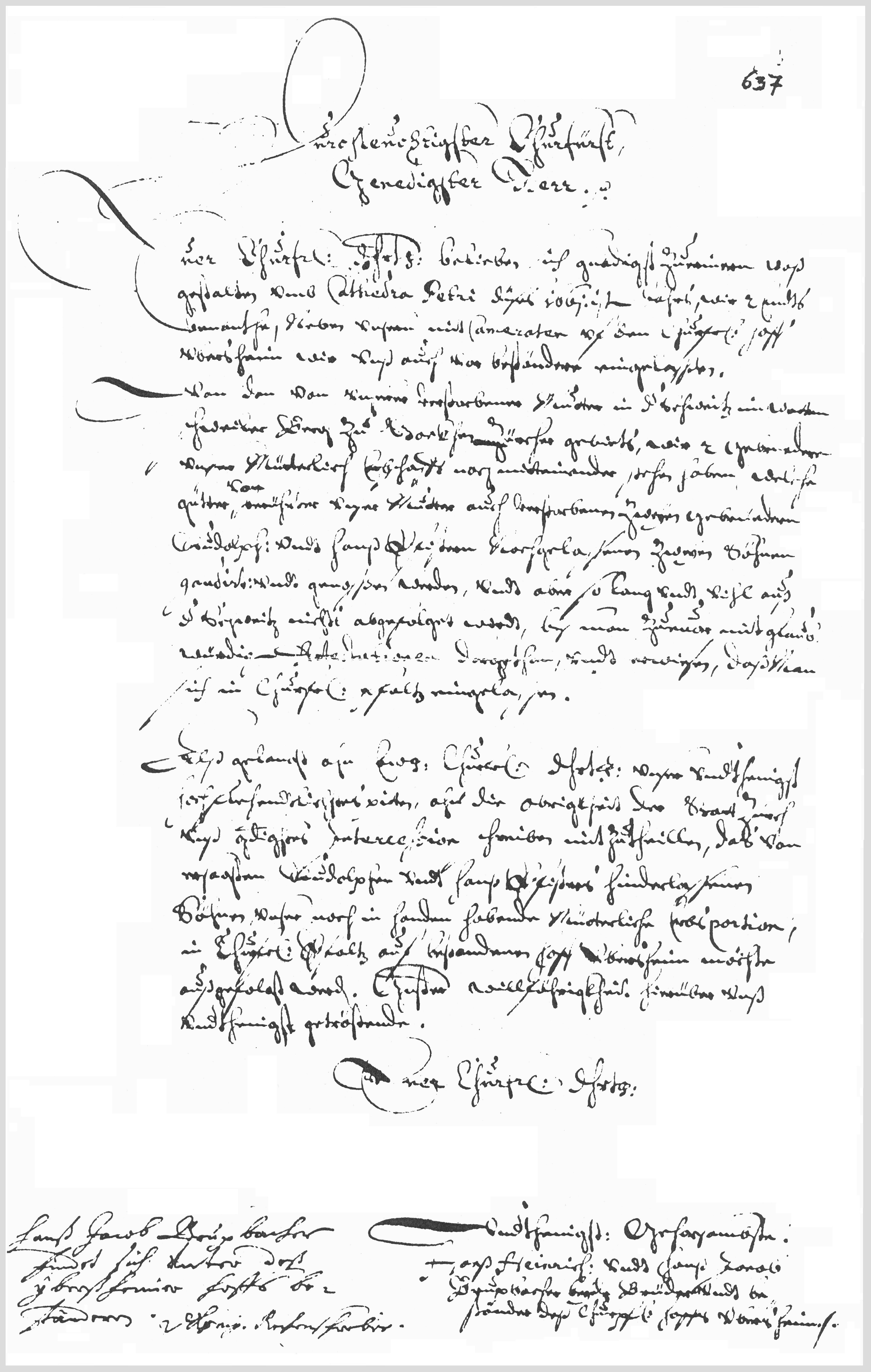 Demand letter, 1661