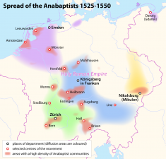 Spread of the Anabaptists, 1525-1550