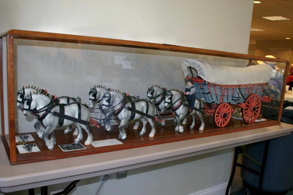 "Conestoga Wagon and team, created by 94 year old ""A-line"" cousin Bob Noll.  It was patterned after the mule team and wagon used by his grandfather, Christian Brubaker (1869-1951)."